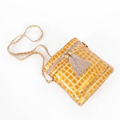 Stuart Weitzman Croc Embossed Patent Leather Crossbody Bag with Tassels