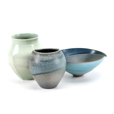 Mark Bell Pottery Vases and Bowl