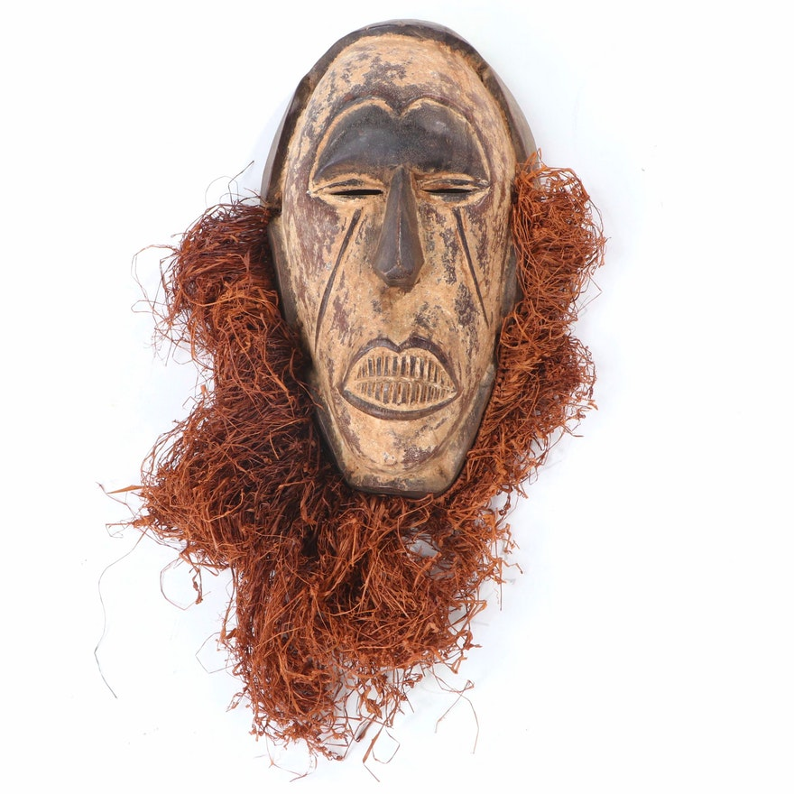 Igbo Style Hand-Carved Wood Mask with Raffia, Nigeria