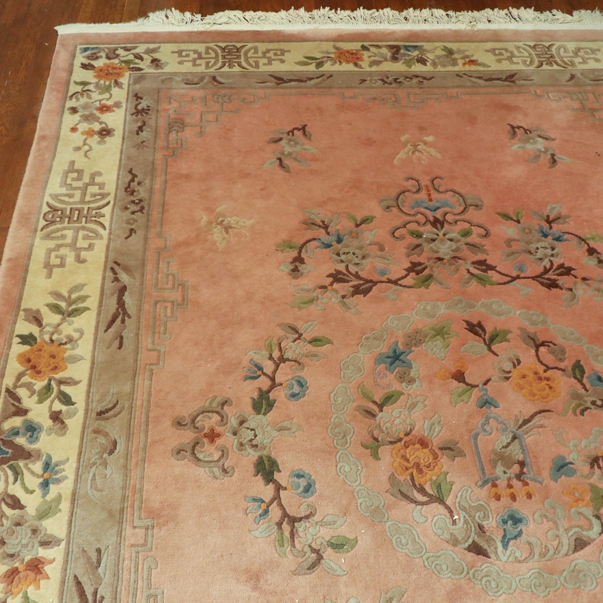 7'1 x10'5 Hand-Knotted Chinese Carved Floral Wool Area Rug
