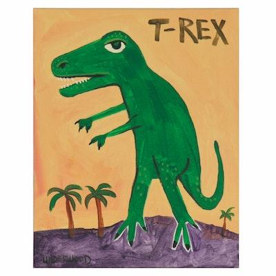 "J. Underwood Folk Art Acrylic Painting of Dinosaur ""T-Rex"""