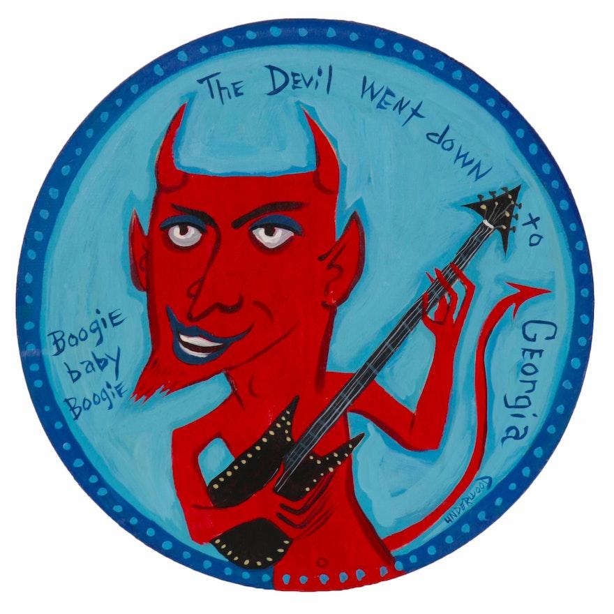 "J. Underwood Folk Art Acrylic Painting ""The Devil Went Down to Georgia"""