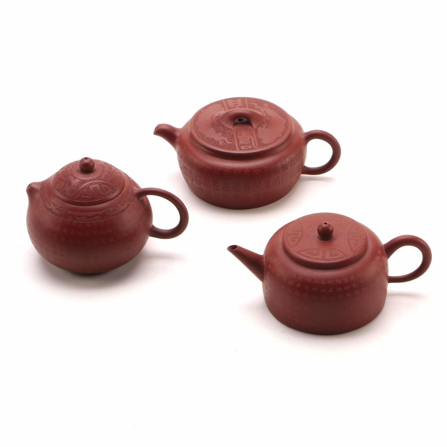 Chinese Red Clay Teapots, Late 20th Century