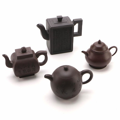 Chinese Inscribed Clay Teapots, Late 20th Century
