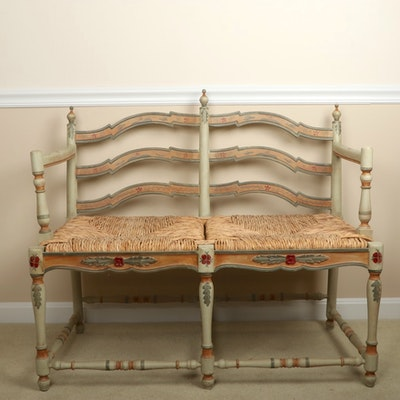 Hand-Painted Rush Seat Double Bench