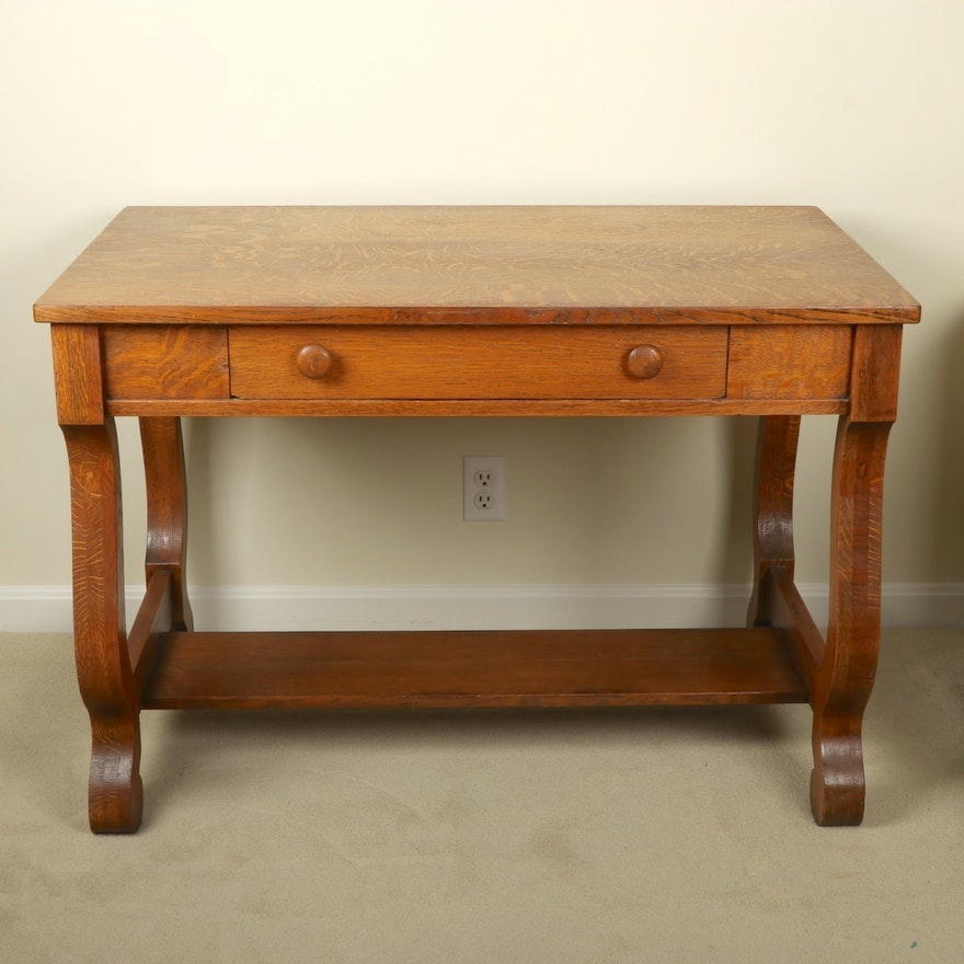 Empire Style Quarter Sawn Oak Library Table, Late 19th/Early 20th Century