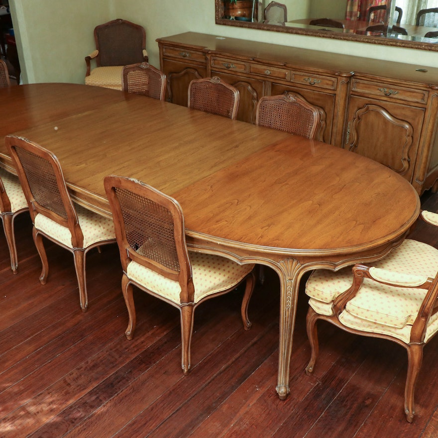 French Provincial Dining Table with Cane Back Upholstered Chairs, 20th Century