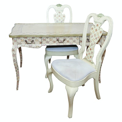 Ardley Hall Hand-Painted Wood Desk with Matching Chairs