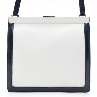 Miu Miu Shoulder Bag in White with Navy Leather Trim