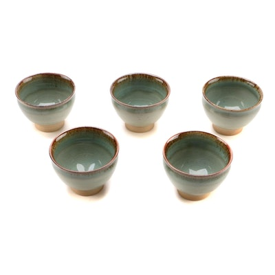 Japanese Glazed Ceramic Footed Bowls with Wood Box