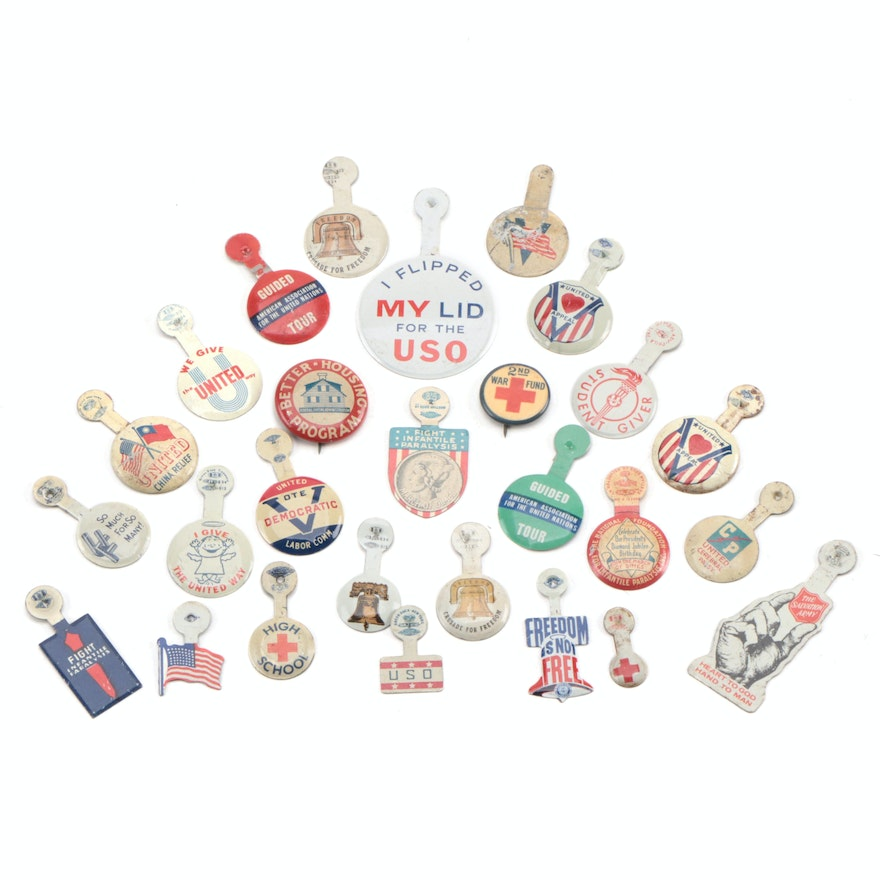 WWII Fund, USO, United Way, March of Dimes, and Other Tabs and Pinbacks