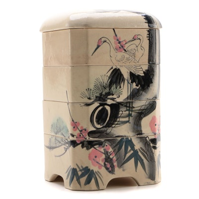 Japanese Hand-Painted Stoneware Jūbako Stacking Box