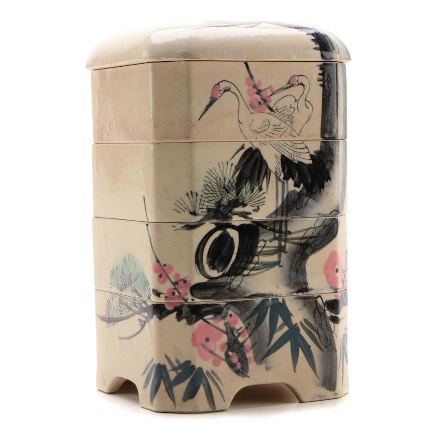 Japanese Hand-Painted Stoneware Jūbako Stacking Box