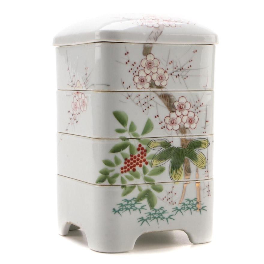 Japanese Cherry Blossom Decorated Porcelain Jūbako Stacking Box
