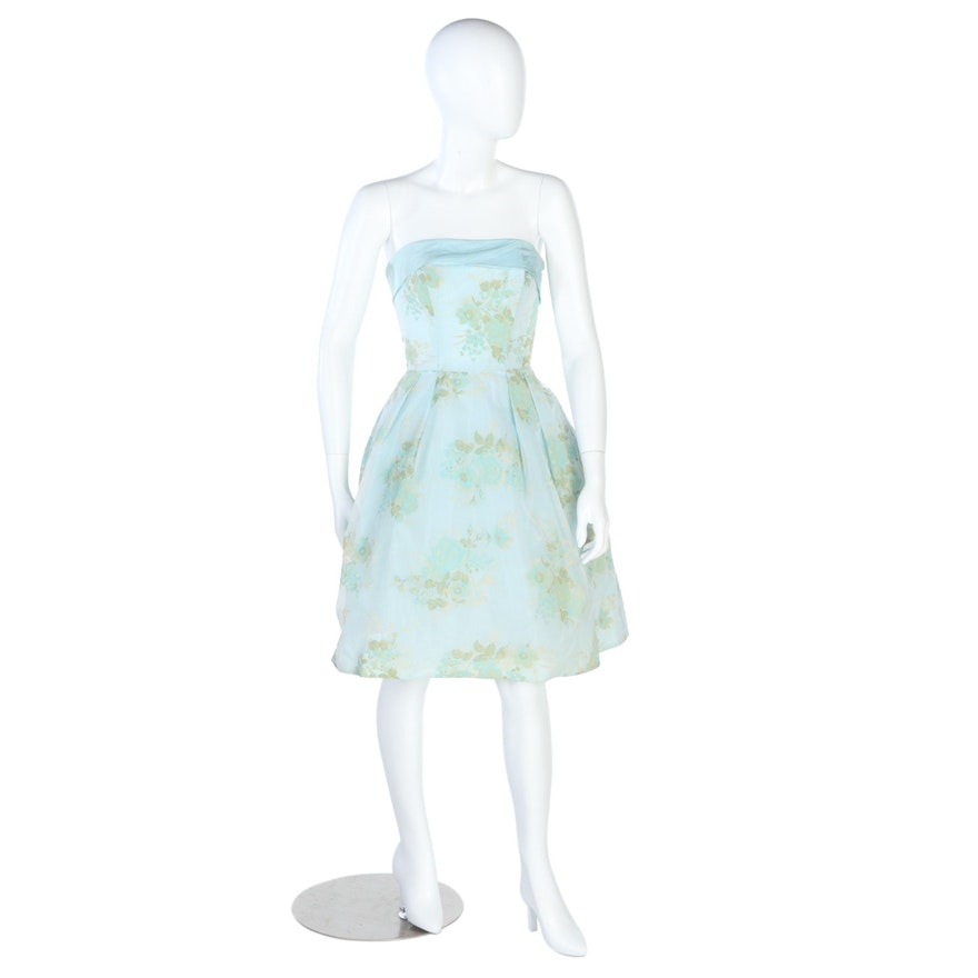 Flocked Floral Strapless Dress in Powder Blue and Yellow with Bow, Vintage