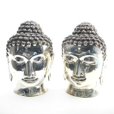 Thai Silver Tone Metal Buddha Busts
