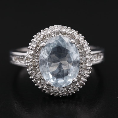 10K Aquamarine Ring with Diamond Double Halo