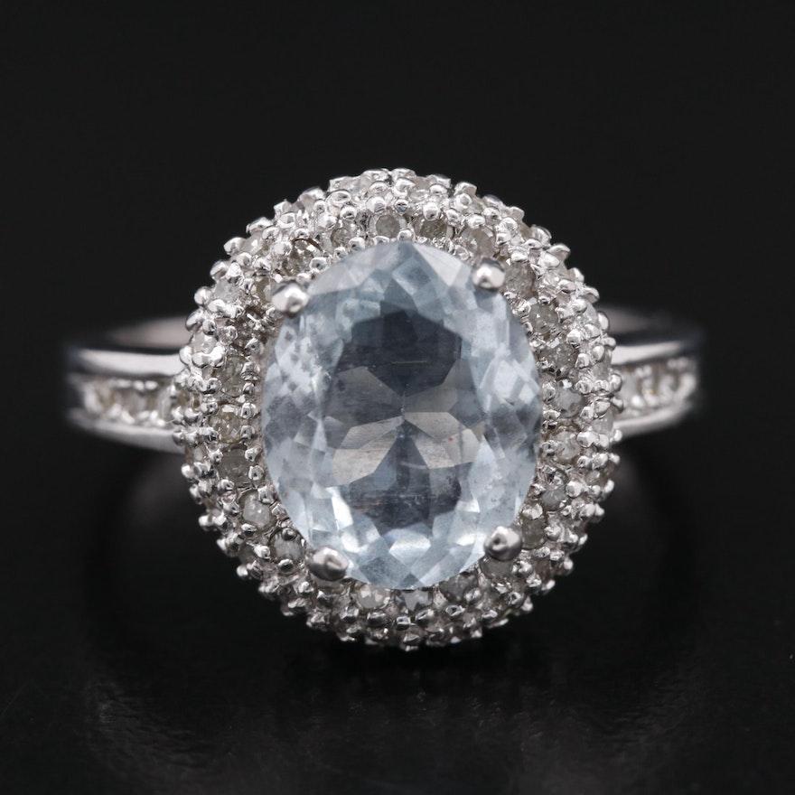 10K Aquamarine Ring with Diamond Double Halo