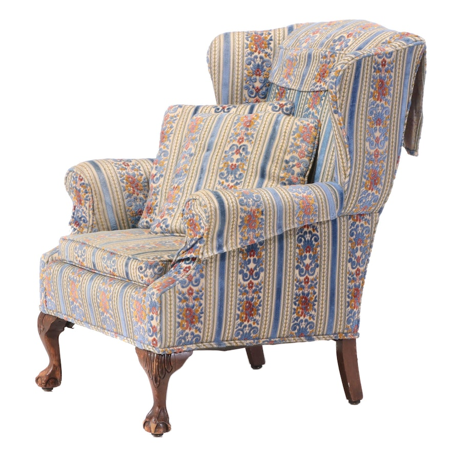 Chippendale Style Upholstered Wingback Armchair, 20th Century