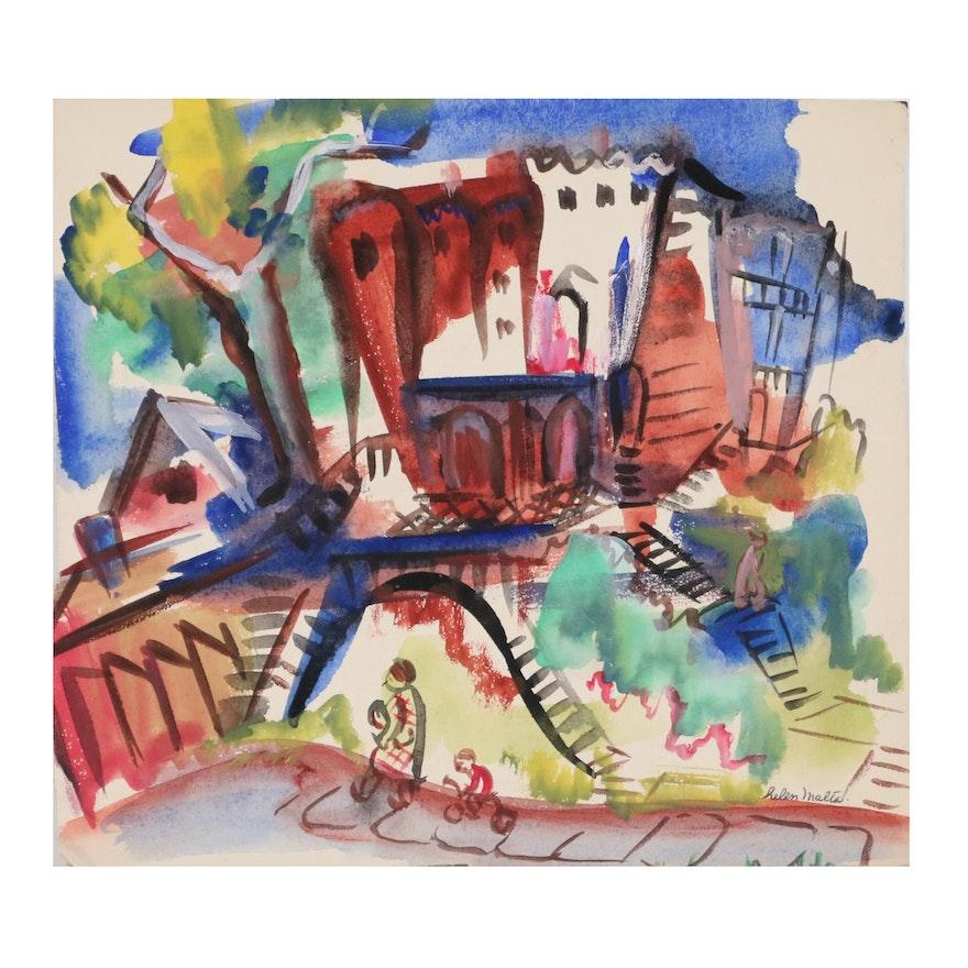 Helen Malta Abstract Cityscape Watercolor, circa 1940
