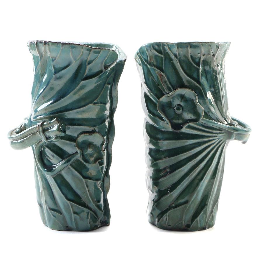 Pair of Terracotta Leaves and Flower Motif Vases, 21st Century