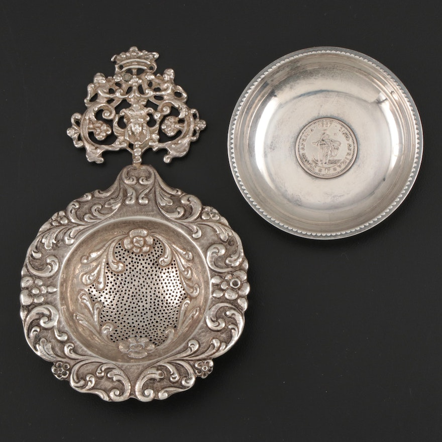 Dutch Export 900 Silver Tea Strainer and South African Sterling Dish with Coin