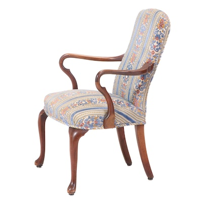 Queen Anne Style Upholstered Walnut Armchair, 20th Century