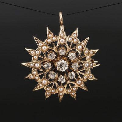 Victorian 14K Diamond and Pearl Starburst Converter Brooch