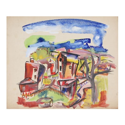 Helen Malta Abstract Cityscape Watercolor Painting, circa 1940