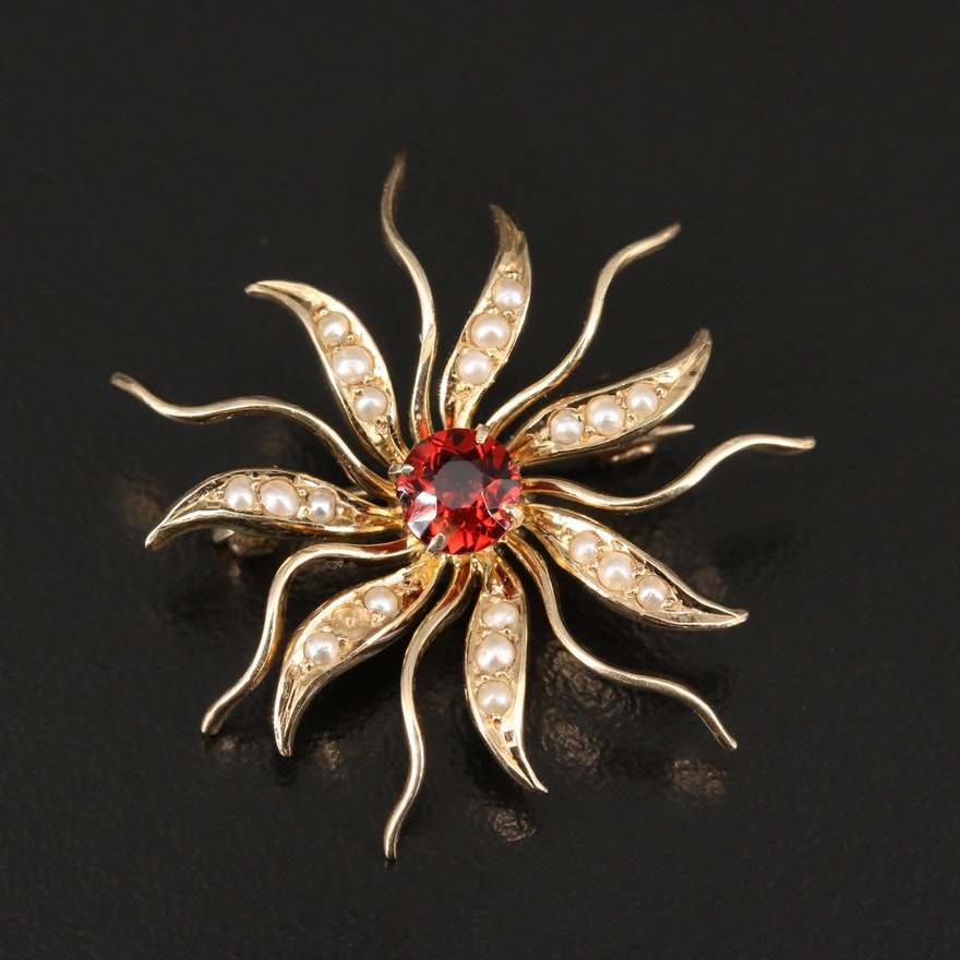 Early 1900s Bickson Inc. 14K Garnet and Pearl Sunburst Brooch