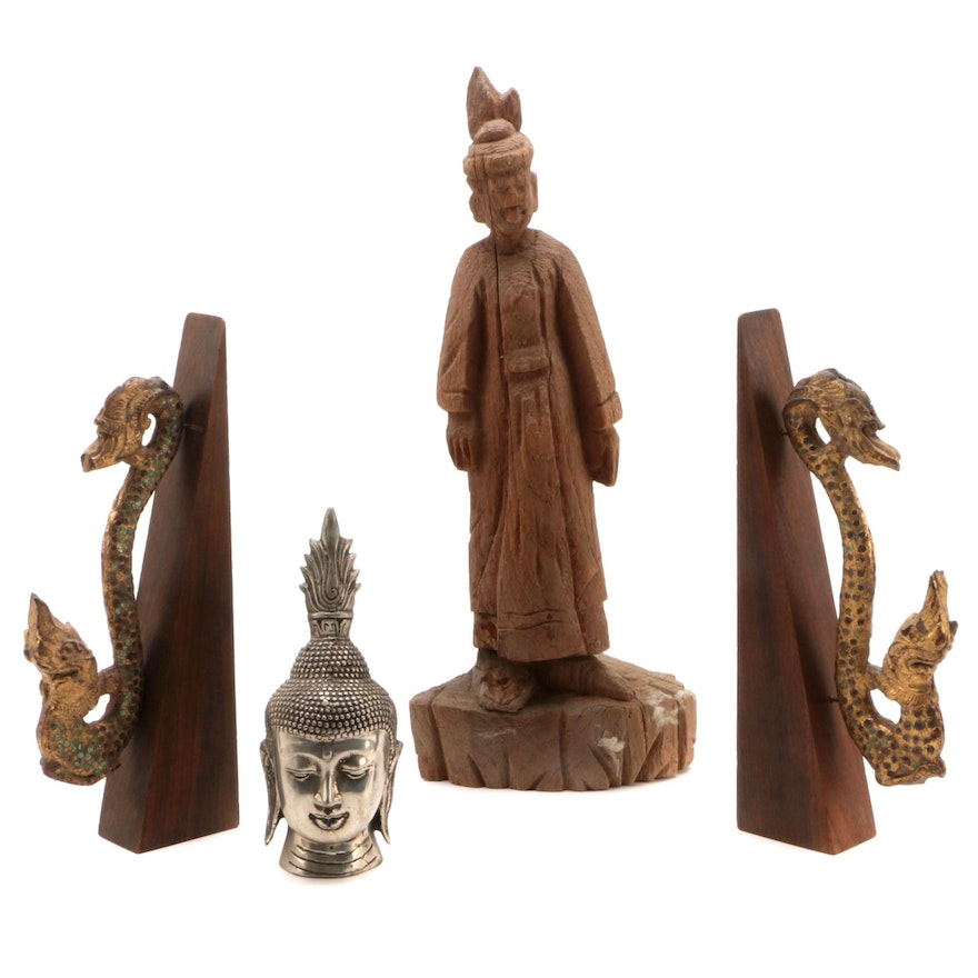 Thai Giltwood and Glass Embellished Nāgas with Buddhist Figures