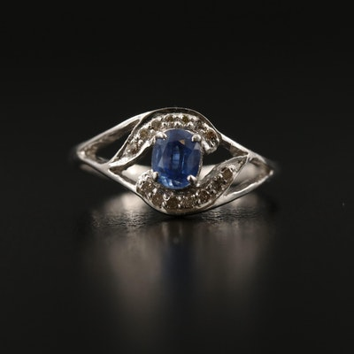 Sterling Silver Kyanite and Diamond Openwork Ring