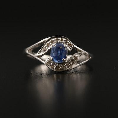 Sterling Silver Kyanite and Diamond Openwork Ring