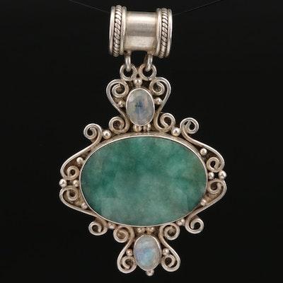 Sterling Silver Beryl and Rainbow Moonstone Pendant