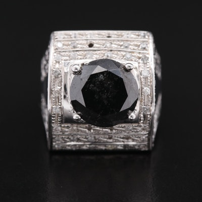 Sterling 7.18 CTW Black Diamond and Diamond Ring