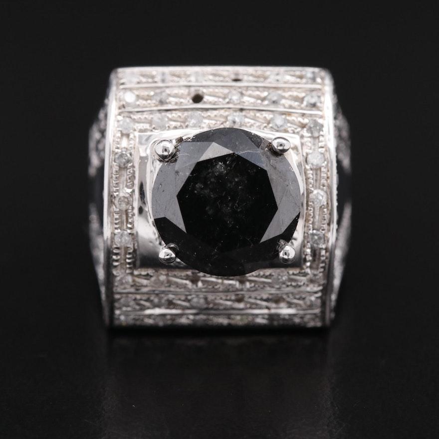 Sterling 7.18 CTW Black Diamond and Diamond Ring