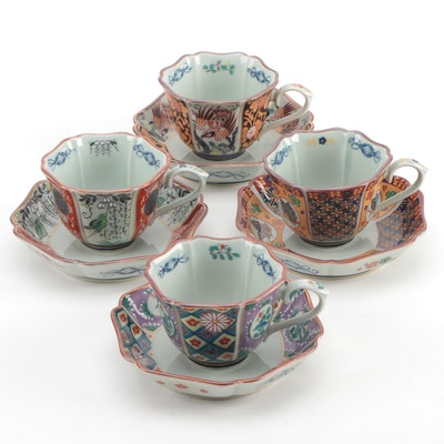 Japanese Arita Imari Style Porcelain Teacups and Saucers