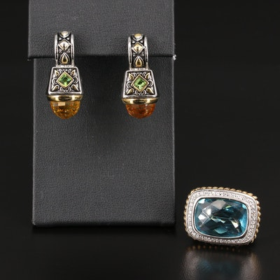 Sterling Ring with Drop Earrings Including Glass and Cubic Zirconia