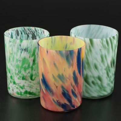Multicolor Spatter Art Glass Tumblers