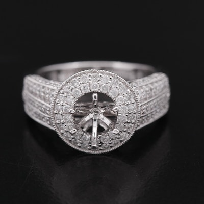 14K 1.04 CTW Diamond Semi-Mount Ring