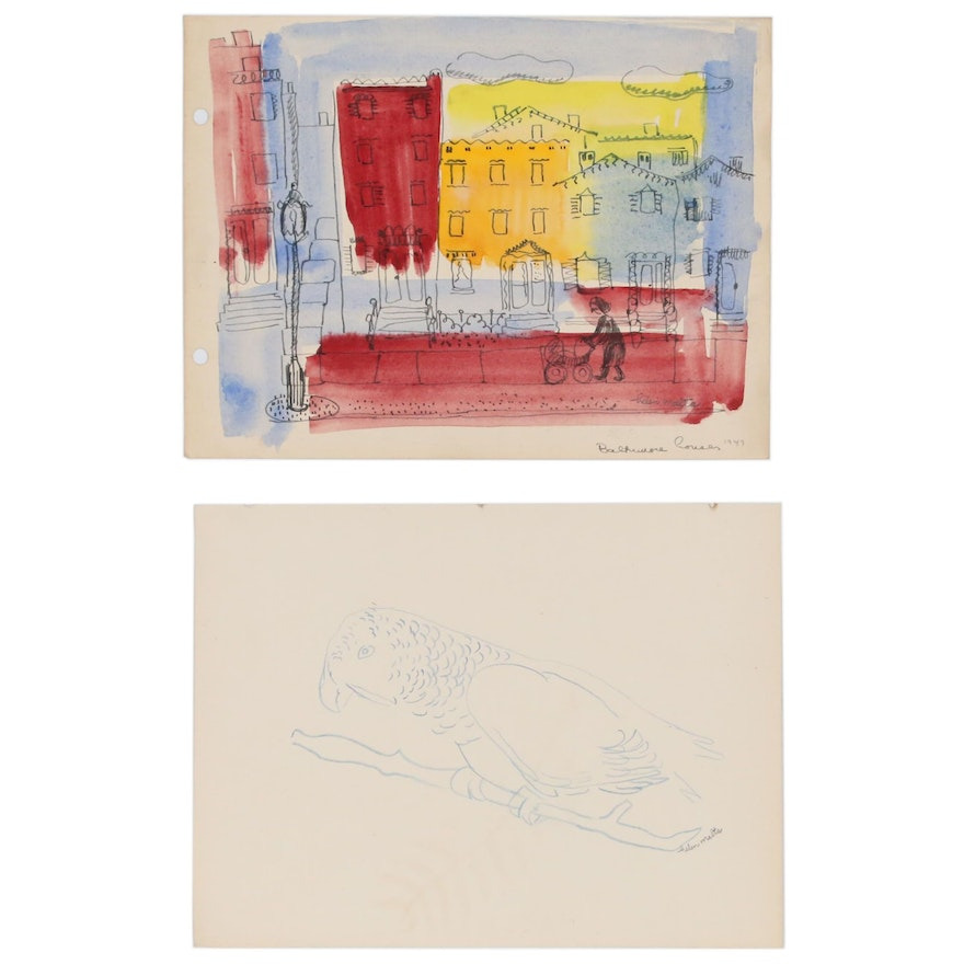 """Helen Malta Drawing and Watercolor Painting """"Baltimore House,"""" 1947"""