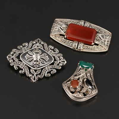 Sterling Brooches and Clip with Carnelian, Green Chalcedony and Marcasite