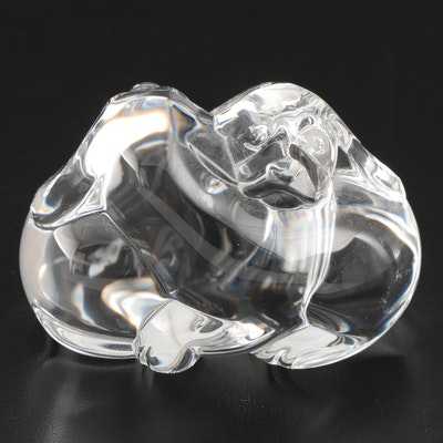 "Steuben Art Glass ""Puppy Love"" Hand Cooler Designed by Lloyd Atkins"
