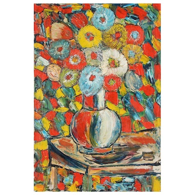 Charles Tullio Abstract Acrylic Painting of Floral Still Life, Late 20th Century