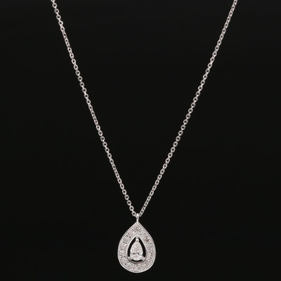 18K Diamond Pear Shaped Pendant Necklace