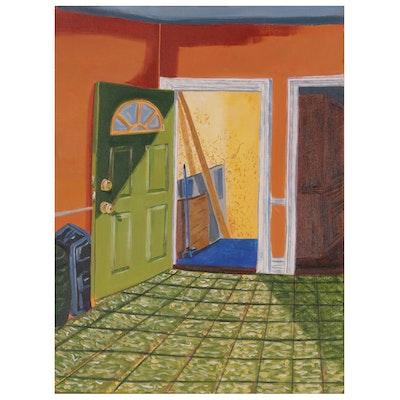 Modernist Oil Painting of Interior Scene, Late 20th Century