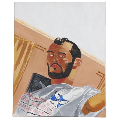 Acrylic Painting of Male Portrait, 21st Century