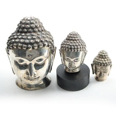 Three Thai Silver Tone Metal Buddha Busts