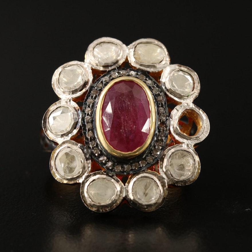 Sterling Silver Corundum and Diamond Halo Ring
