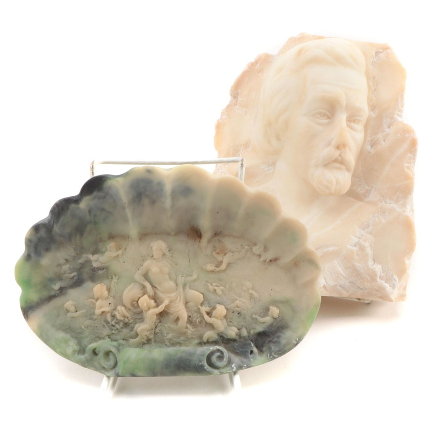 Carved Alabaster Bas Relief Male Bust with Incolay Stone Dish